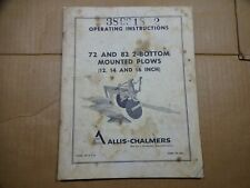 Allis Chalmers 72 82 2 Bottom Mounted Plow 12 14 16 Inch Operators Manual
