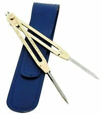 """Proportional Divider Drafting Tool 9"""" Solid Brass Steel Point With Leather Case"""