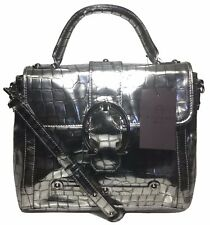 NWT Etienne Aigner Eti Patent Leather Satchel, Pewter Croco, MSRP: $375.00