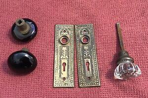 Antique Pair Doorknob Back Plates Three Doorknobs