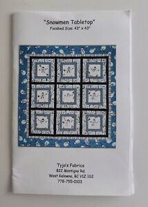 """Snowmen Tabletop patchwork quilting pattern 43"""" x 43""""   Good used condition"""