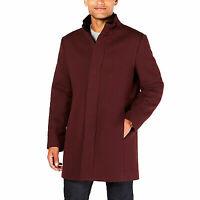 Alfani Men's Mock Collar Textured Top Coat Color: Port Size: Large