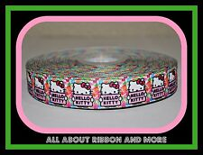 """7/8""""HELLO KITTY HOLDING NAME SIGN ON  GROSGRAIN RIBBON- 1 YD"""