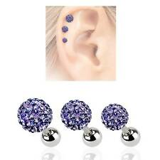 LOT 3 316L Surgical Steel Ear Cartilage Earring Ring Disco Crystal Ball 16G