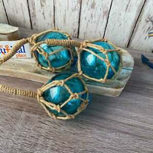 "3"" Aqua Blue Glass Fishing Floats- Nautical Decor - Coastal Beach Fish Net Buoy"