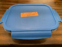 Bentgo Glass (Blue) – Leak-Proof, 3-Compartment Oven-Safe Glass Lunch Container