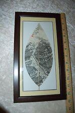 13 x 7 Oriental Scene Painted On Leaf Matte, Framed & Back Sealed