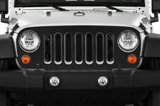 Vinyl Decal Grille Wrap for Jeep Wrangler Rubicon Grill 07-16 BLACK CARBON FIBER