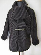 BORIS INDUSTRIES süße Lagenlook Kuschel Jacke Fleece dunkle Streifen 48 (5)