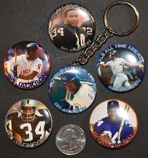 """Set of 6 -  5 Pinback Buttons and Key Chain 1 1/2"""" Bo Jackson Royals Raiders"""