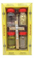 Holy Water Jordan River Jerusalem Soil Olive Oil Cross Crucifix Bible Land Cross