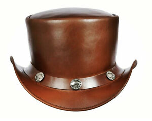 Brown Top Hat Buffalo Button Style 100% Genuine Leather New with Tags