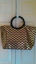 Signature Club A Gold and Black Zig-Zag Shopper Tote Bag
