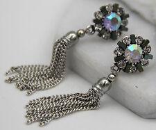 Woman's Pink Crystal Rhinestone Silver Plated  Long Ear Stud Hoop earrings Gift