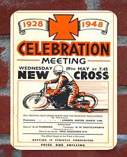 Vintage Tin Sign 1948 New Cross Speedway Programme Metal Sign Man Cave