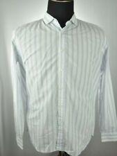 Hugo Boss White/Black/Blue Button-Front Shirt L Large