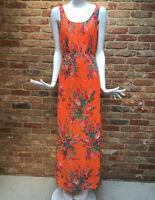 WALLIS Orange Floral Print Chiffon Summer Holiday Maxi Dress Size 10