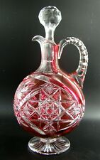Wonderful French Baccarat Crystal Handled Decanter Red Ruby Cut to Clear ca 1900