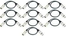10 x 0,5 m Câble microphone XLR XLR 3 pôles symetrique, Câble DMX noir Adam Hall