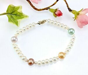 14 CT Gold Multi-Coloured Real Pearl Bracelet - Signed WW