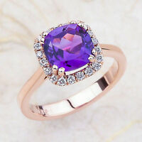 2.35 CT 8x8mm Cushion Cut Amethyst & Diamond Halo Engagement Ring 14k Rose Gold