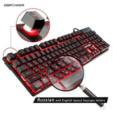 DBPOWER Russian / English 3 Color Backlight Gaming Keyboard Teclado Gamer Floati