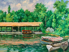 """River Boat Landscape  Hand Painted 8""""x10"""" Oil Painting Unstretched Canvas Art"""