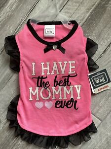 """SIMPLY WAG PINK Black Trim  """"I HAVE THE BEST MOMMY EVER"""" Dress Puppy/Dog small"""