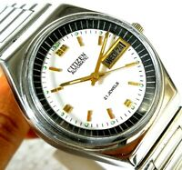 CITIZEN JAPAN AUTOMATIC WIND DAY DATE WHITE  DIAL CASUAL MEN WATCH CASE 36MM