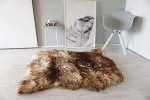 Genuine Double Side by Side Sheepskin Rug Soft Wool White Brown tipped SBN 31