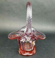 Fenton Art Glass Basket Hand Painted Pink Glass Happy Anniversary