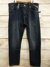 Sean John Mens 36X32 Mercer Slim Staright Vintage Medium Blue Jeans New