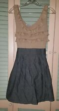 Velvet Torch Tan and Black Chambray Sleeveless Dress size M Rayon Spandex Dry Cl