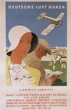 Vintage German Lufthansa Travel Poster 1930's