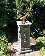 More details for large floral armillary stone sun dial - garden sundial