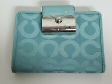 Coach Kristin OP ART Medium Turquoise Sateen Wallet NWT In Package 43667