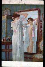 ART PEINTURE SALON de PARIS / FEMME en nuisette au MIROIR ... par J. SCALBERT