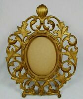 """Antique Art Nouveau Brass Ornate Baroque Gold Oval Picture Frame Easel Stand 10"""""""