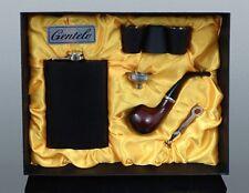 XXL Set Edelstahl Flachmann + Holzpfeife +3 Trinkbecher Geschenk box Pfeife