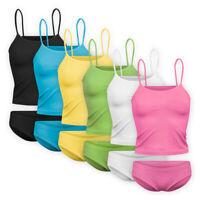 Womens Ladies Cotton Underwear 2-piece Vest Briefs Set Pyjamas Knickers Cami