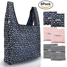 Reusable Grocery Bags 6 Pack Foldable Shopping Bags Waterproof Washable Durable