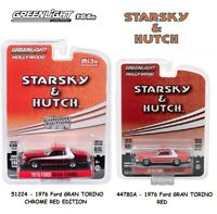 Greenlight 1:64 1976 Ford Gran Torino - STARSKY & HUTCH - Red (2) Cars Set