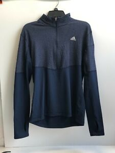 Adidas Women's Navy Long Sleeves Climalite 1/2 Zip Performance Pullover Shirt, L