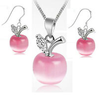 925 Silver Pink Opal Apple Pendant Earrings Necklace Set Women Xmas Jewelry