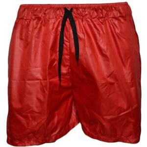 Costume mare uomo box corto rosso monocromatico in tessuto semilucido opacizzato
