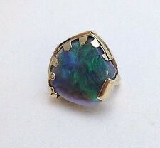 14K Yellow Gold Rubbed Australian Opal Ring  Large Black Opal Rub 20 X 19mm