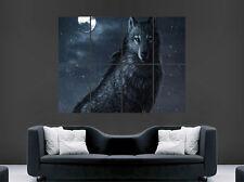 Animal Salvaje Lobo Miedo ojos cartel Luna llena enorme impresión de imagen Grande De Pared