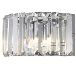 CGC Chrome Crystal Curved Wall Light Glass Vintage Prism Flush Bath Bed Vintage