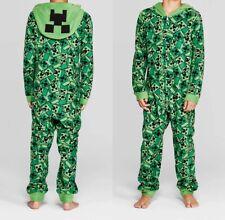 MINECRAFT Pajamas Size Large 10/12 Boys One Piece Union Suit Creeper Costume NEW