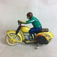 Vintage 1930's Wind Up Clockwork Tinplate Motorcycle Motor Bike Working